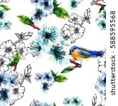 floral seamless pattern with... | Shutterstock . vector #588595568