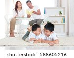 asian family relaxed in the... | Shutterstock . vector #588605216