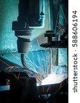 the light welding robots...   Shutterstock . vector #588606194