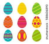 vector set of easter eggs....   Shutterstock .eps vector #588606890