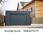 modern garage door in black  ... | Shutterstock . vector #588607079