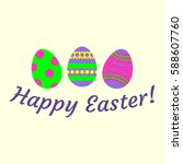 happy easter background with... | Shutterstock .eps vector #588607760