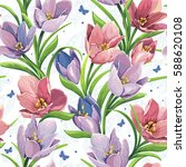stylish floral seamless pattern ... | Shutterstock .eps vector #588620108