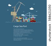 seaport with container ship and ... | Shutterstock .eps vector #588621350