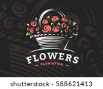 rose basket logo   vector... | Shutterstock .eps vector #588621413