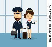 pilot and flight attendant... | Shutterstock .eps vector #588626870