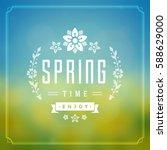 spring vector typographic... | Shutterstock .eps vector #588629000