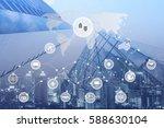 modern buildings in blue tone... | Shutterstock . vector #588630104