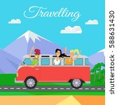 traveling by minibus. happy... | Shutterstock .eps vector #588631430