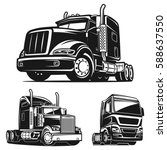 cool truck black and white... | Shutterstock .eps vector #588637550