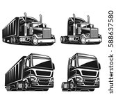 cool truck black and white... | Shutterstock .eps vector #588637580
