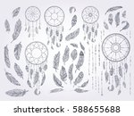 ink doodle dream catchers... | Shutterstock .eps vector #588655688