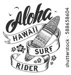 aloha typography with surfboard ... | Shutterstock .eps vector #588658604