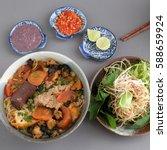 vietnamese food  bun rieu and... | Shutterstock . vector #588659924