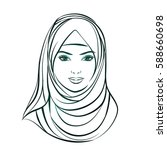 isolated portrait of islamic... | Shutterstock .eps vector #588660698