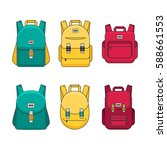 schoolbag flat illustration.... | Shutterstock .eps vector #588661553