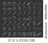 kitchen icon set isolated... | Shutterstock .eps vector #588663986