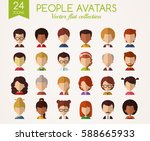 set of flat avatars. male and...