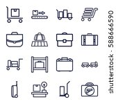 luggage icons set. set of 16... | Shutterstock .eps vector #588666590
