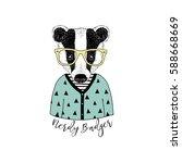 cute portrait of nerdy badger ... | Shutterstock .eps vector #588668669