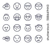 expression icons set. set of 16 ... | Shutterstock .eps vector #588669443