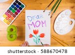 kid draw greeting card on white ... | Shutterstock . vector #588670478