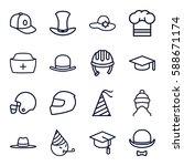hat icons set. set of 16 hat... | Shutterstock .eps vector #588671174