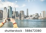 tourist hands taking pic of new ... | Shutterstock . vector #588672080