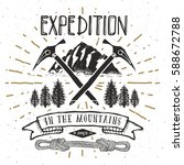 mountain expedition vintage... | Shutterstock .eps vector #588672788