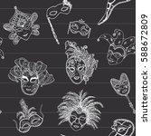 venice italy carnival masks... | Shutterstock .eps vector #588672809