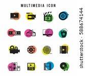 multimedia icon set | Shutterstock .eps vector #588674144