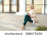 beautiful business woman in... | Shutterstock . vector #588675650
