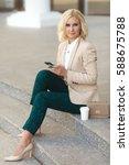 beautiful business woman in... | Shutterstock . vector #588675788