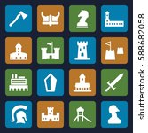 knight icons set. set of 16... | Shutterstock .eps vector #588682058