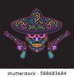 skull vector with sombrero and... | Shutterstock .eps vector #588683684