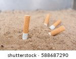 Cigarettes Butt On Sand Tray ...