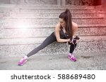fitness woman doing stretching... | Shutterstock . vector #588689480