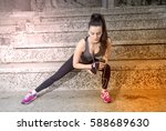 fitness woman doing stretching... | Shutterstock . vector #588689630