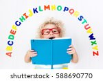 happy preschool child learning... | Shutterstock . vector #588690770