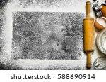 baking background. ingredients... | Shutterstock . vector #588690914