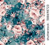 seamless pattern with bouquets... | Shutterstock . vector #588698723