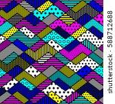 geometric patchwork pattern in... | Shutterstock . vector #588712688