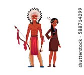 native american indian couple... | Shutterstock .eps vector #588714299