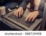 closeup hand businesswoman... | Shutterstock . vector #588719498