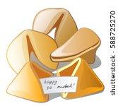 cookies with happy predictions... | Shutterstock .eps vector #588725270