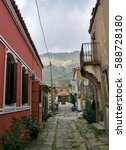 Small photo of traditional turkish village houses from aegean island