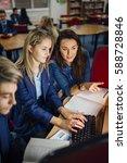 teen student is working with... | Shutterstock . vector #588728846