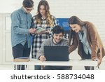 group of university students... | Shutterstock . vector #588734048