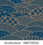japanese traditional patterns... | Shutterstock .eps vector #588735023