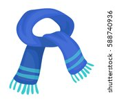 the blue scarf.winter warm wool ... | Shutterstock .eps vector #588740936